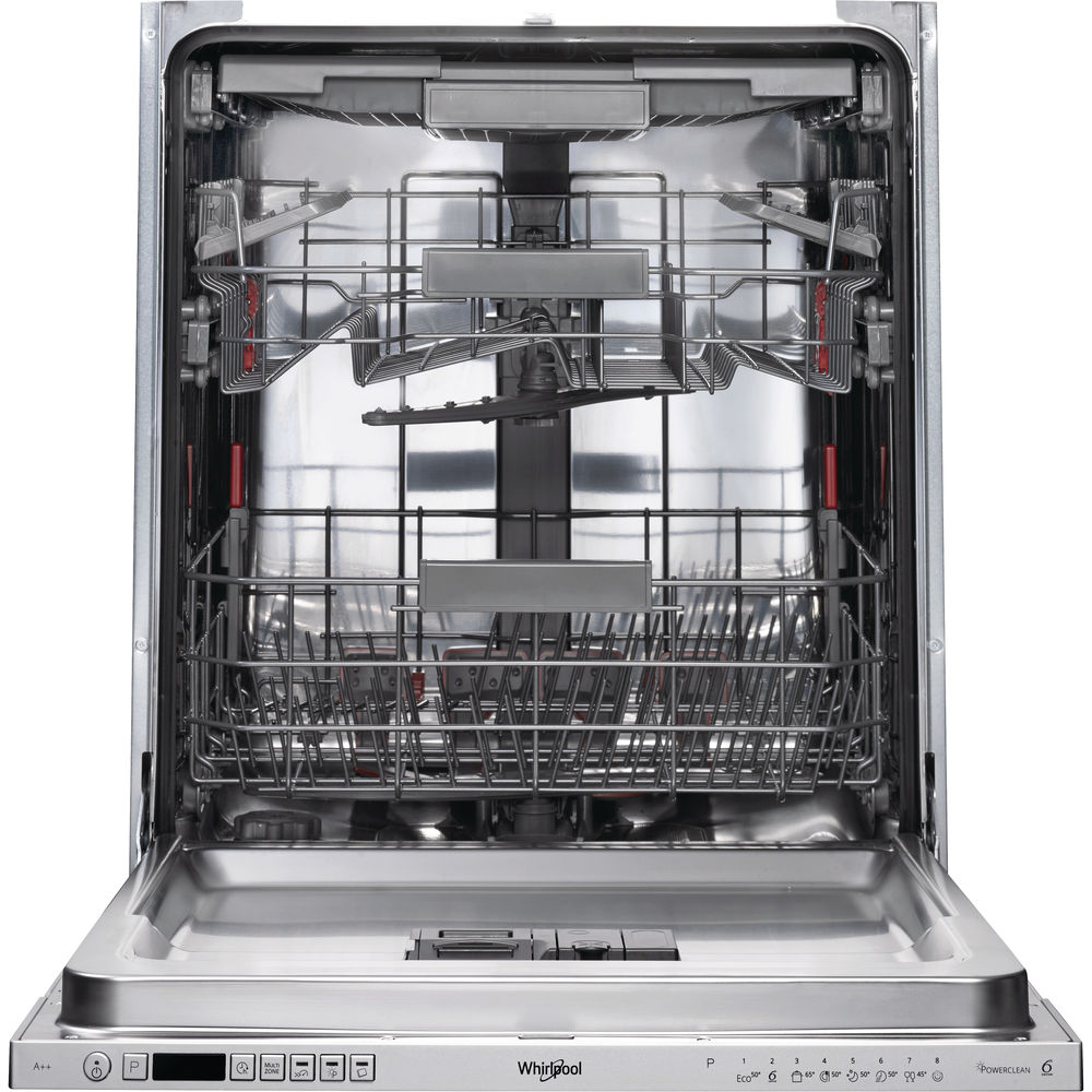 Whirlpool integrated dishwasher: silver color, full size - WIC 3C23 PEF UK