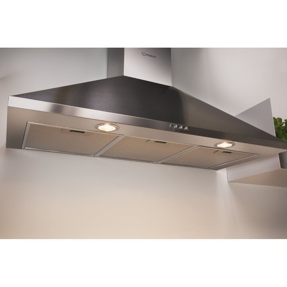 Wall mounted cooker hood: chimney design, 90cm