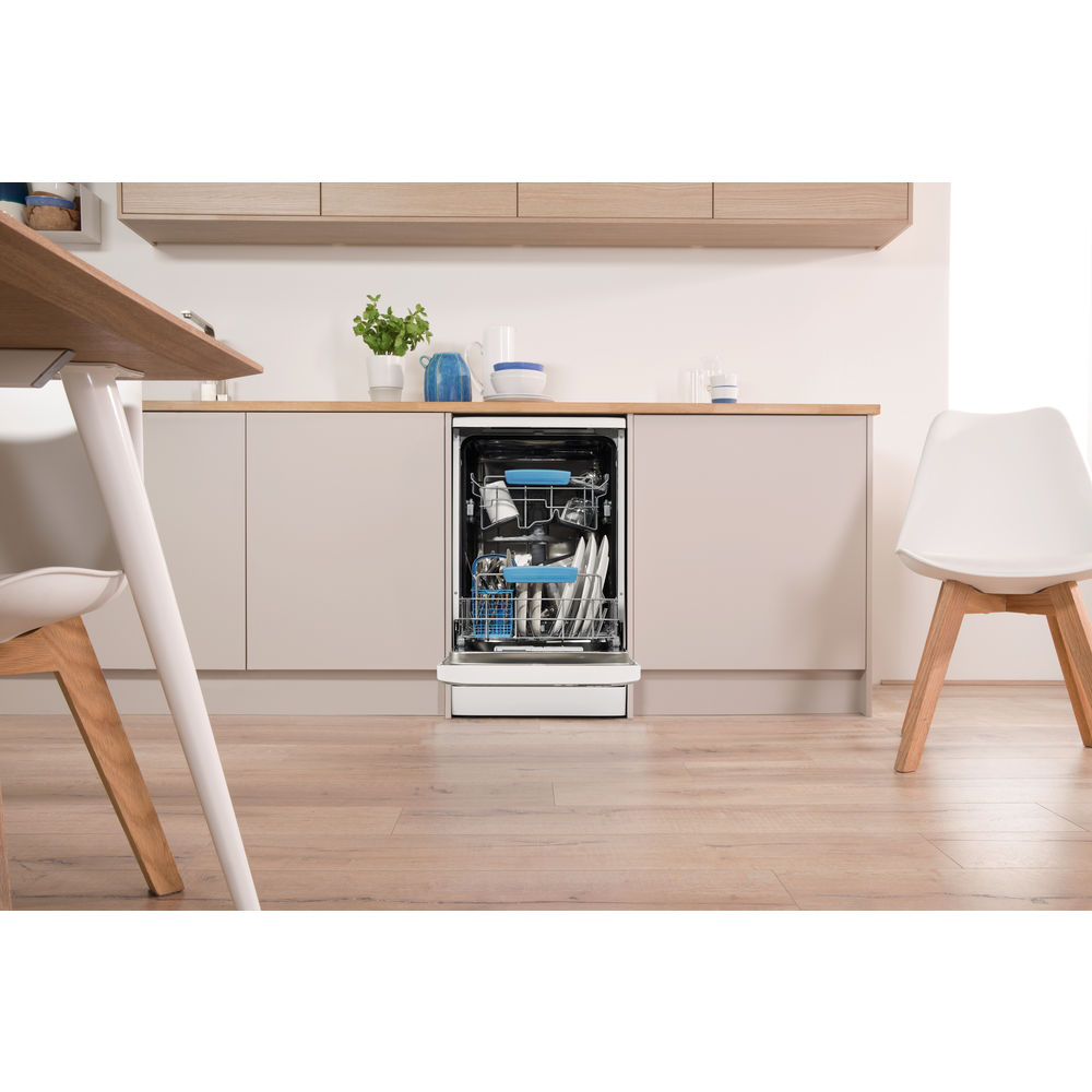 Indesit DSR 57M96 Z eXtra Baby Care Slim Line Dishwasher in White