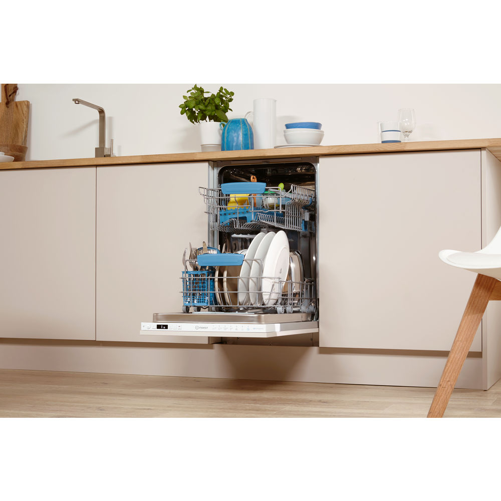 Indesit DISR 57M96 Z eXtra Baby Care Integrated Slim Line Dishwasher in White
