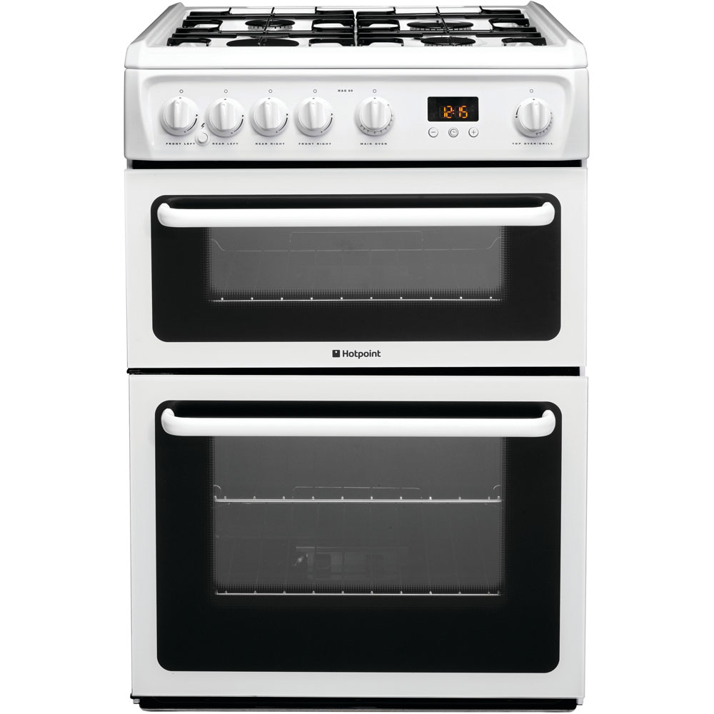 hotpoint gas freestanding double cooker 60cm hag60p. Black Bedroom Furniture Sets. Home Design Ideas