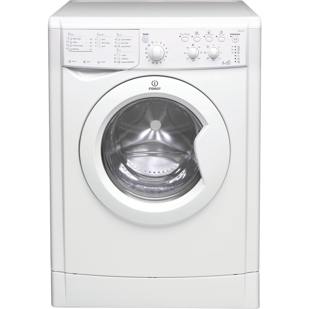indesit ecotime iwdc 6125 washer dryer in white iwdc 6125 uk. Black Bedroom Furniture Sets. Home Design Ideas
