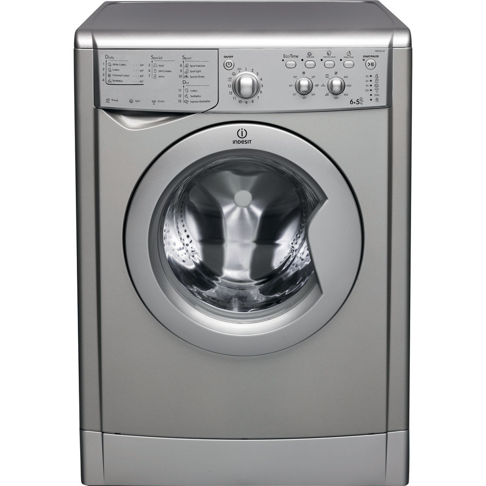 indesit ecotime iwdc 6125 s washer dryer in silver iwdc. Black Bedroom Furniture Sets. Home Design Ideas