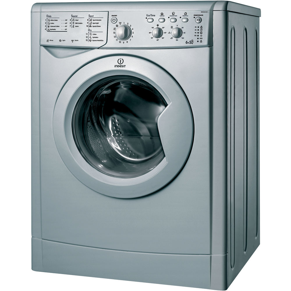 indesit ecotime iwdc 6125 s washer dryer in silver iwdc 6125 s uk. Black Bedroom Furniture Sets. Home Design Ideas