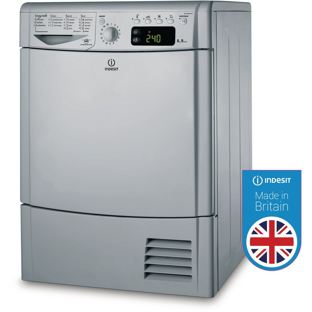 Indesit Ecotime IDCE 8450 BS H Tumble Dryer in Silver