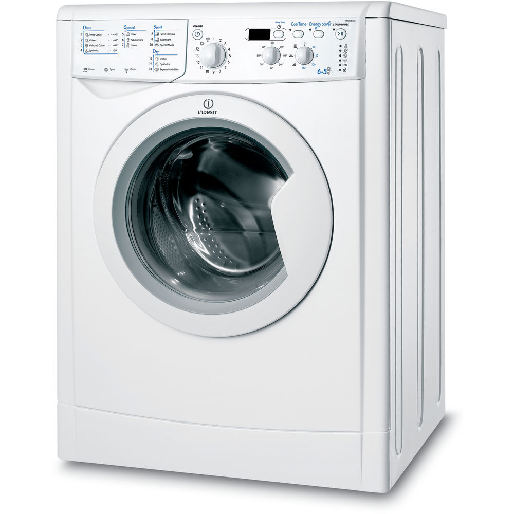 indesit ecotime iwdd 6105 b eco washer dryer in white. Black Bedroom Furniture Sets. Home Design Ideas