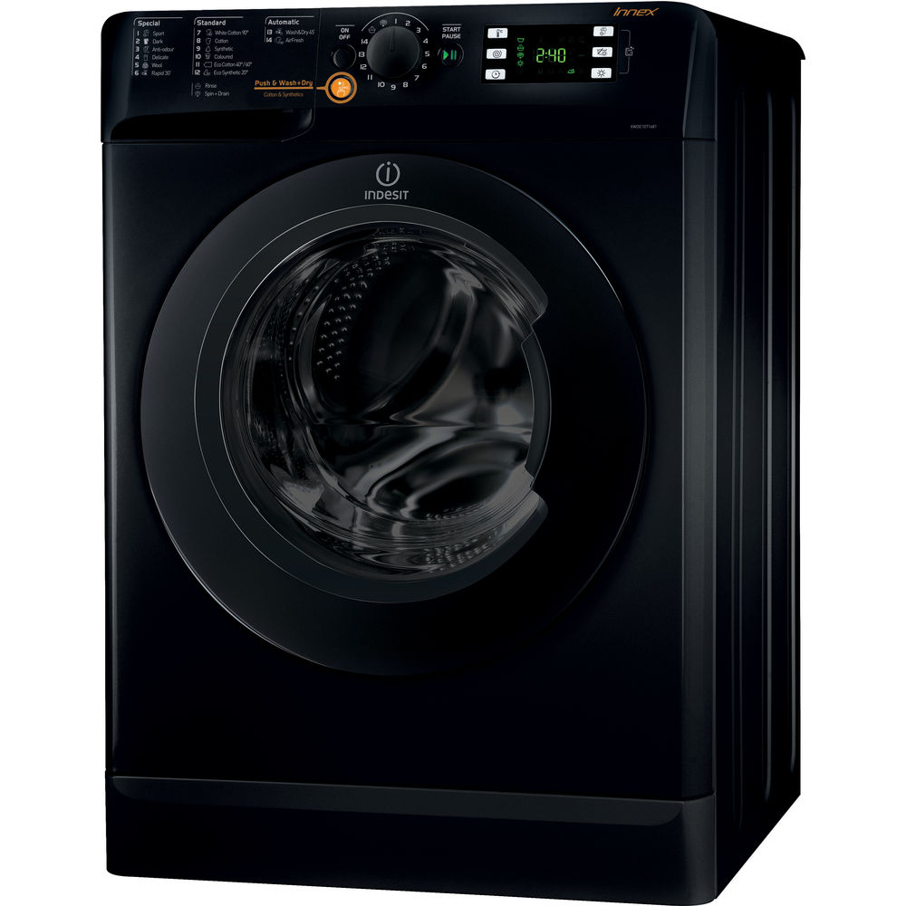 indesit innex xwde 751480x k washer dryer in black xwde 751480x k uk. Black Bedroom Furniture Sets. Home Design Ideas