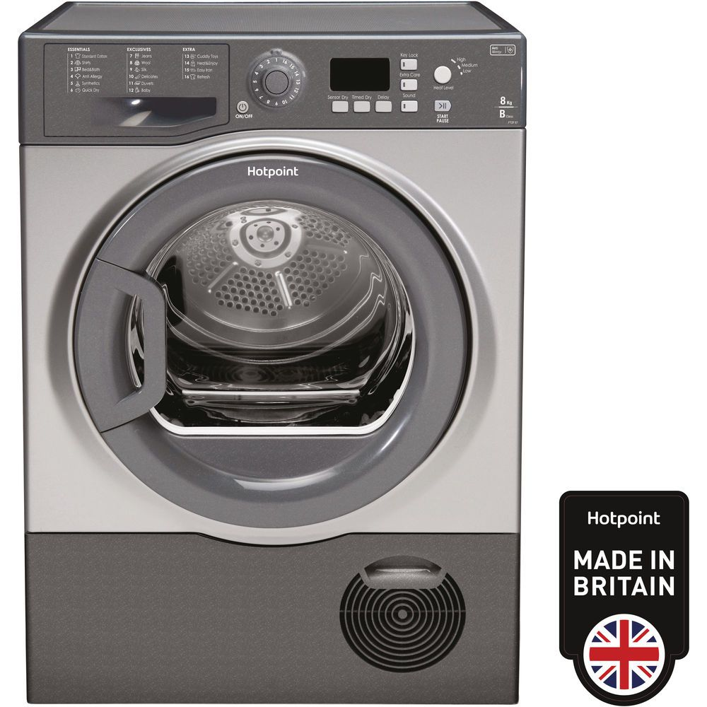 Hotpoint Aquarius FTCF 87B GG Tumble Dryer - Graphite