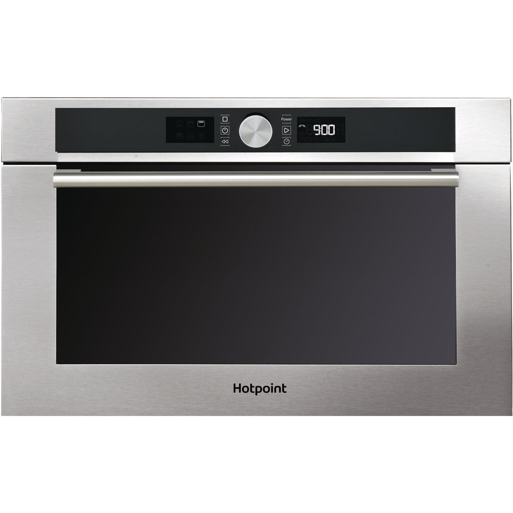 inox color: Hotpoint built in microwave oven