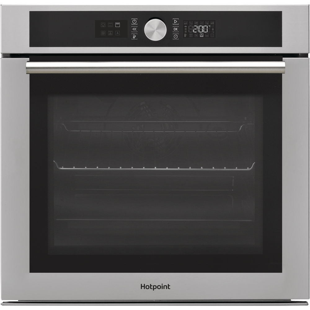inox color: self cleaning, Hotpoint built in electric oven