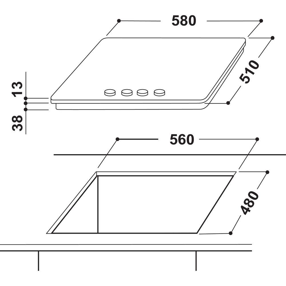Piano cottura a gas Indesit: 4 fuochi - THP 642 IX I