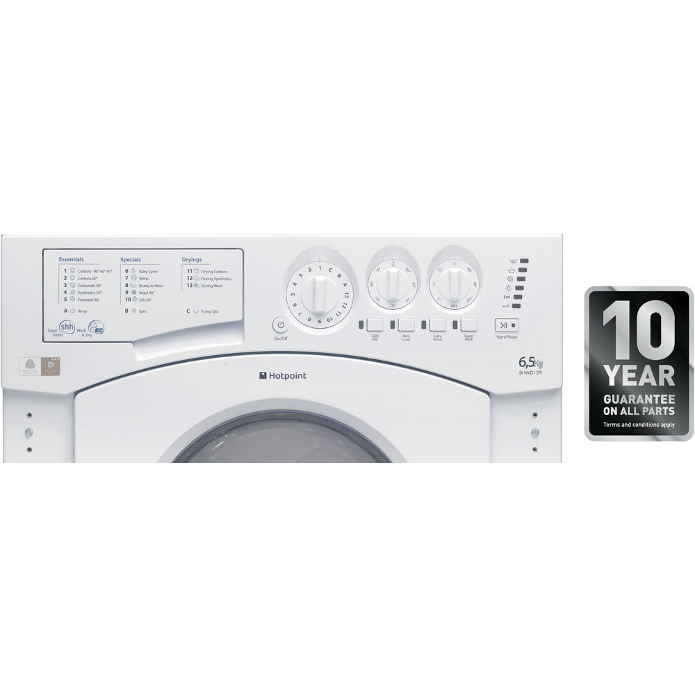 Hotpoint Integrated Washer Dryer Bhwd 129 Uk 1 Washing Machine Wiring Diagram Aquarius White