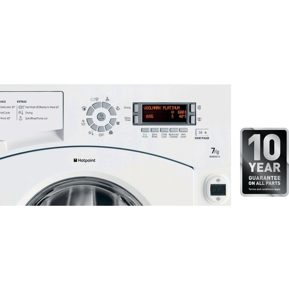 hotpoint ultima bhwdd 74 integrated washer dryer - white