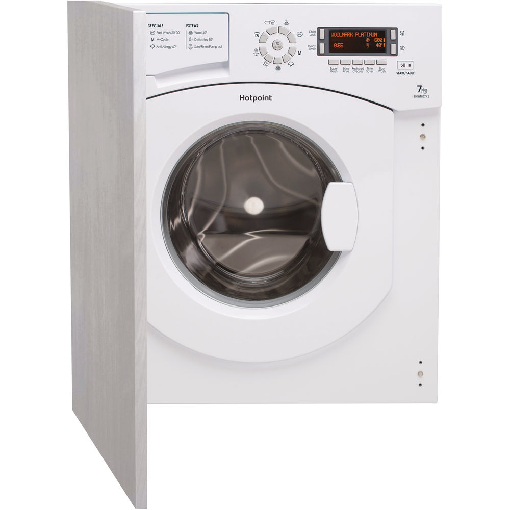 Hotpoint Ultima BHWMD 742 Integrated Washing Machine - White