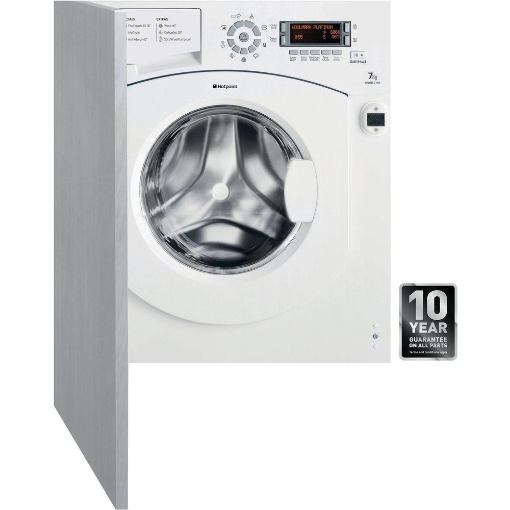 Hotpoint Ultima BHWMED 149 Integrated Washing Machine - White