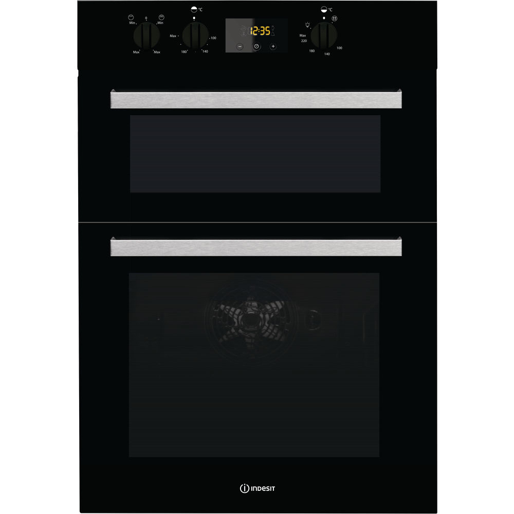Indesit Aria IDD 6340 BL Electric Double Built-in Oven in Black