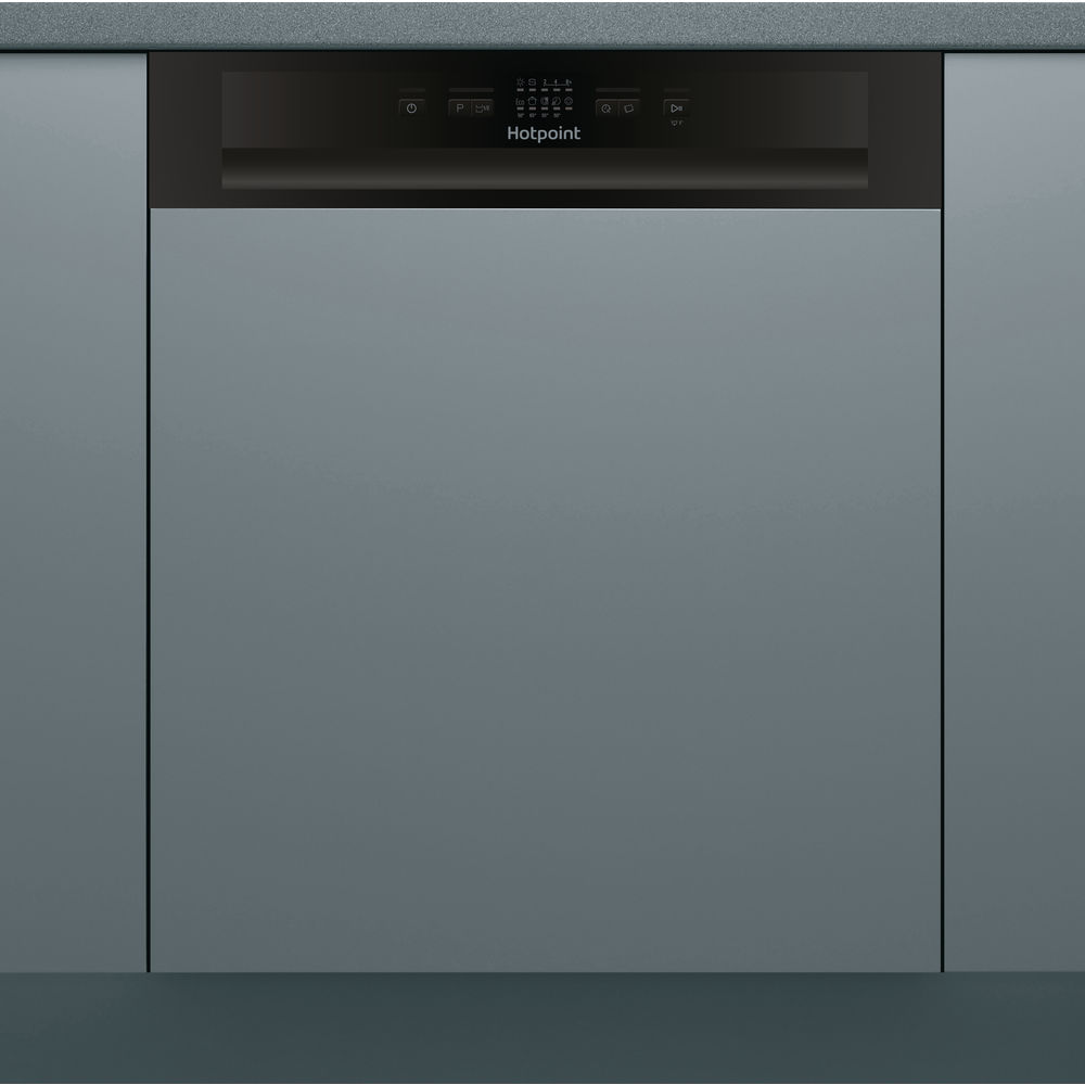 full size: black color, Hotpoint semi integrated dishwasher