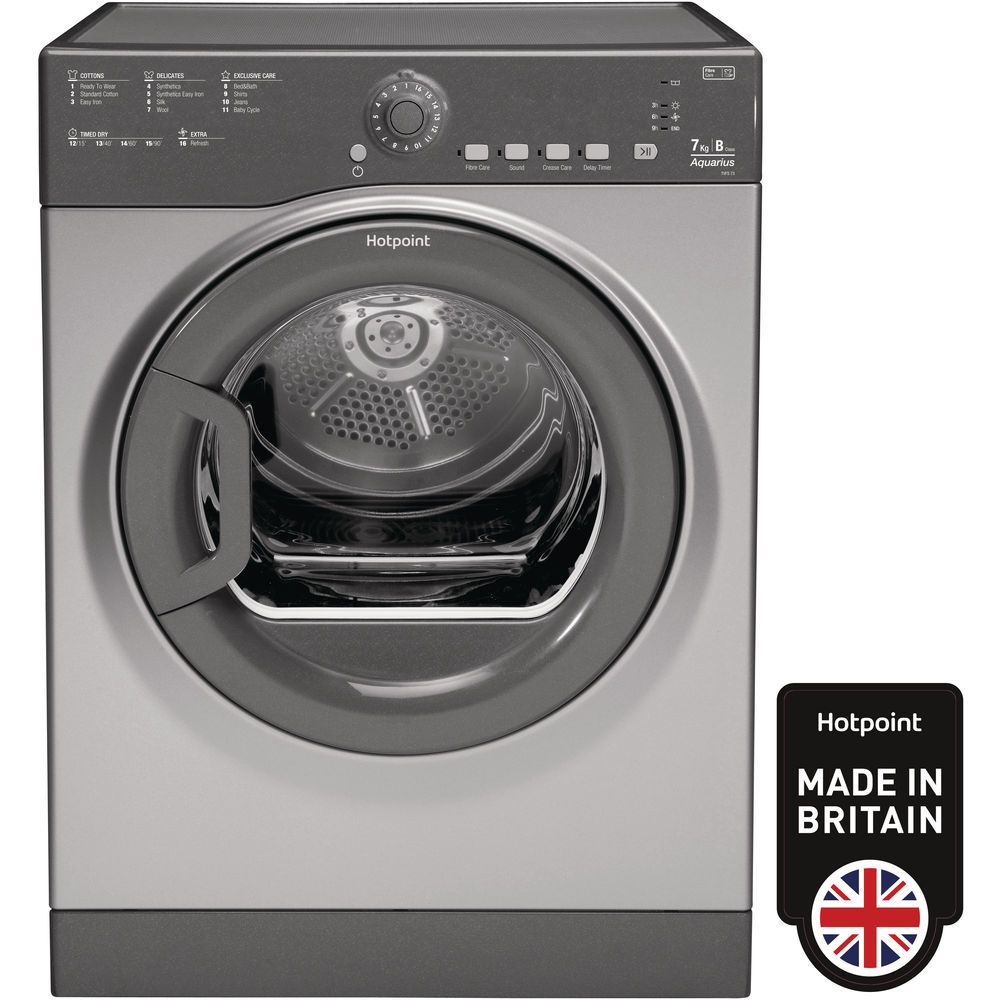 Hotpoint Aquarius TVFS 73B GG.9 Tumble Dryer - Graphite