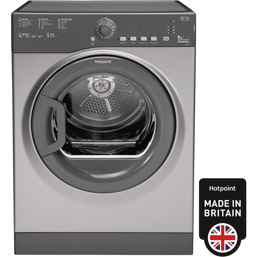 Hotpoint Aquarius TVFS 83B GG.9 Tumble Dryer - Graphite