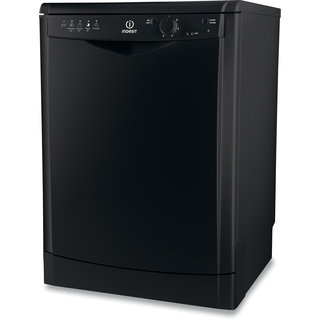 Indesit dishwasher: full size, black color